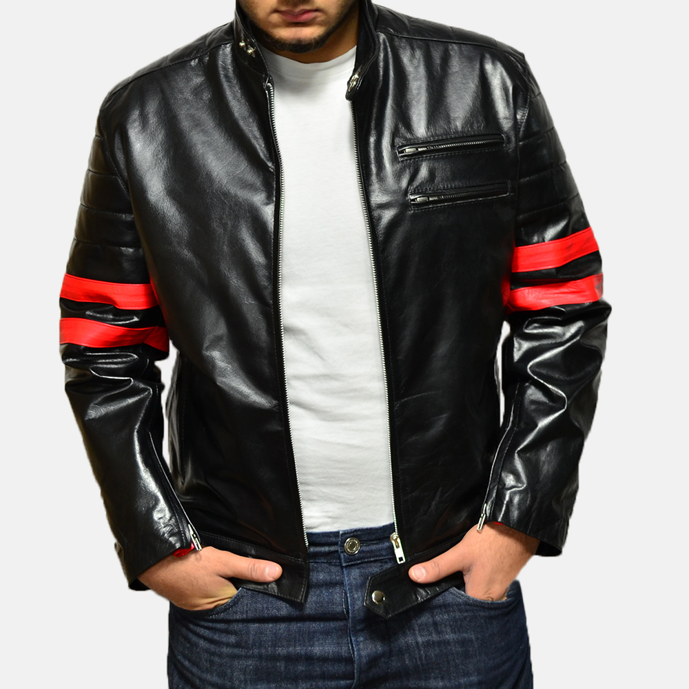 Mens Monza Black & Red Leather Biker Jacket 2