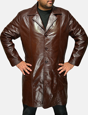 Mens Rum Gum Brown Leather Coat