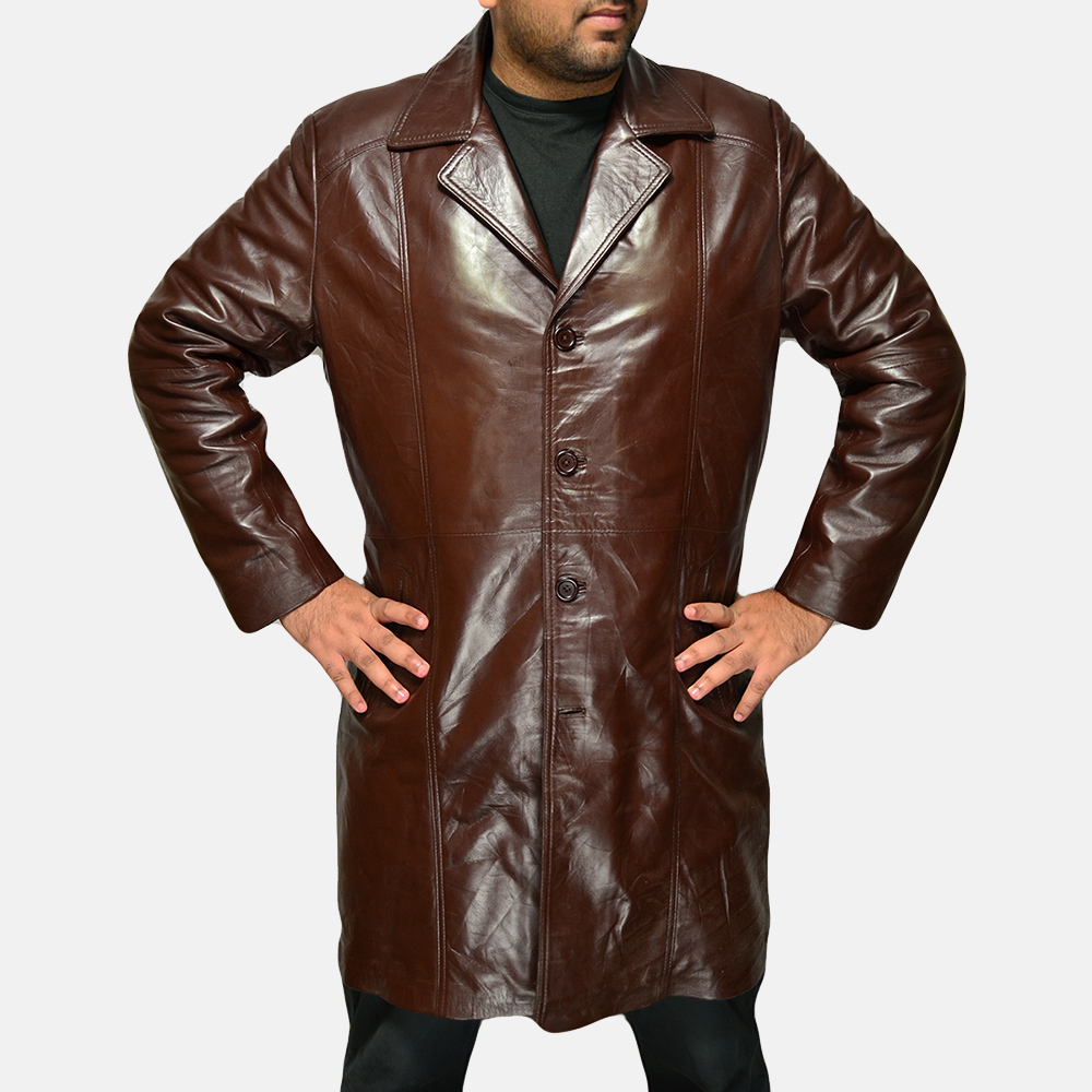 Mens Rum Gum Brown Leather Coat 1