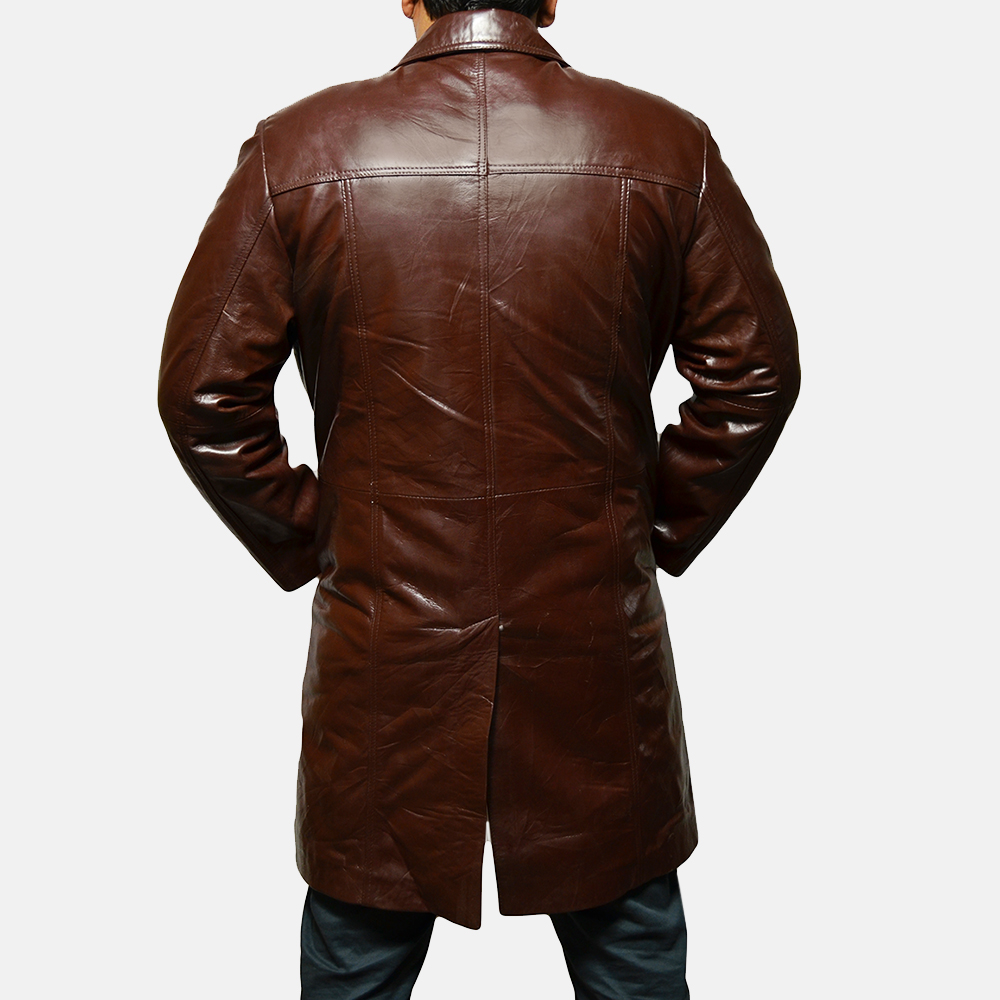 Mens Rum Gum Brown Leather Coat 2