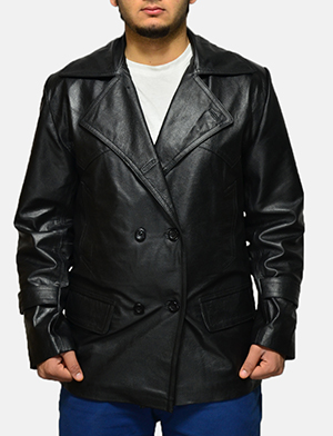Mens Vegas Black Leather Coat
