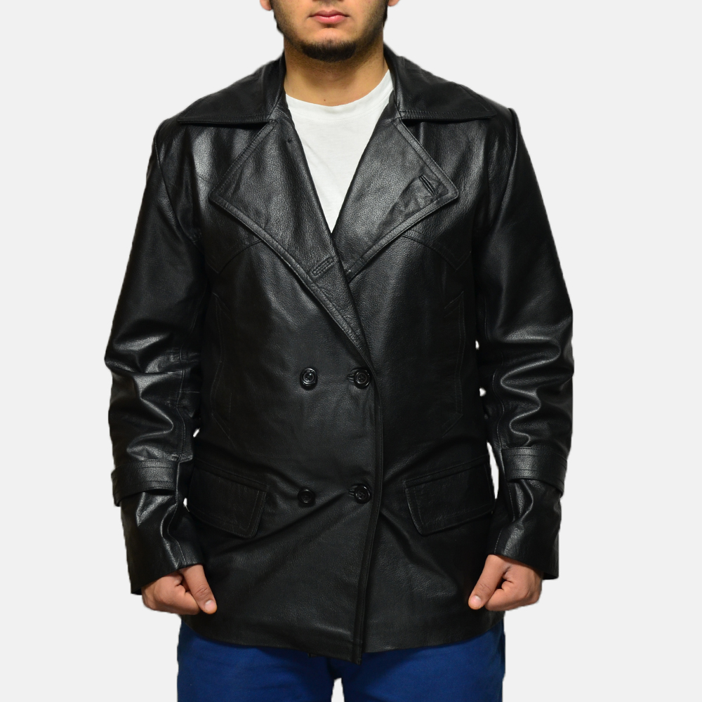 Mens Vegas Black Leather Coat 1
