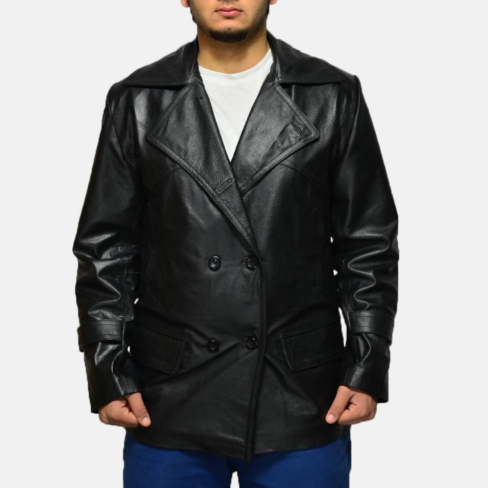 Mens Vegas Black Leather Coat 2