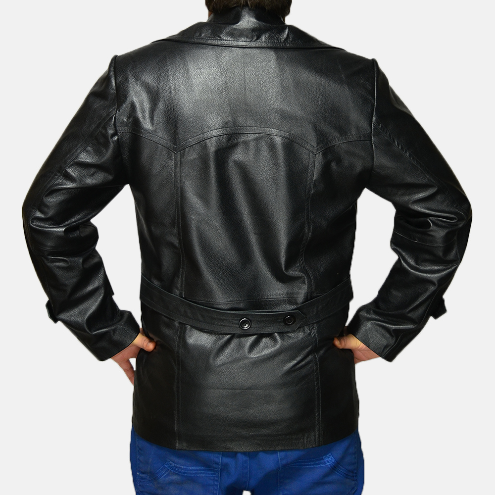 Mens Vegas Black Leather Coat 3
