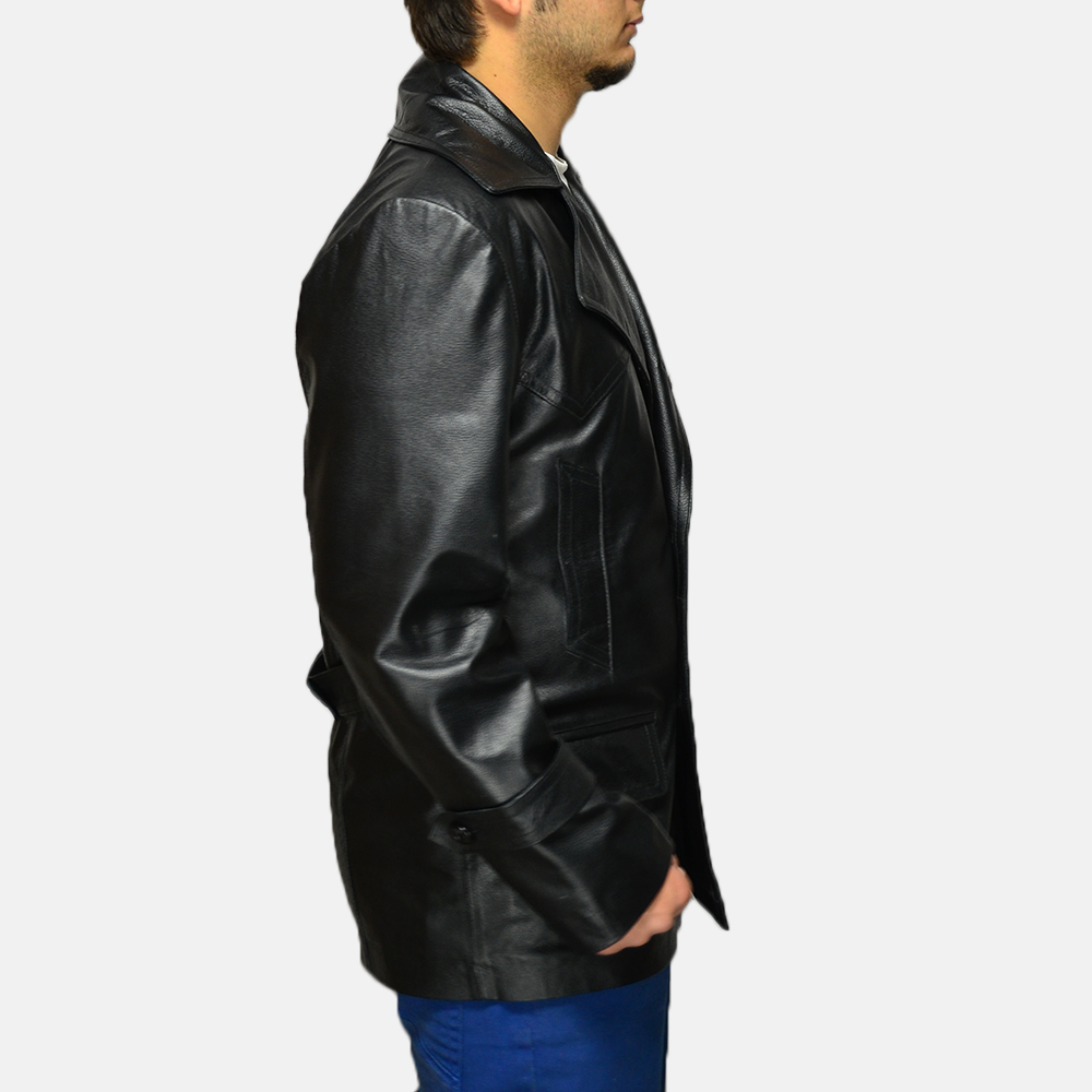 Mens Vegas Black Leather Coat 2