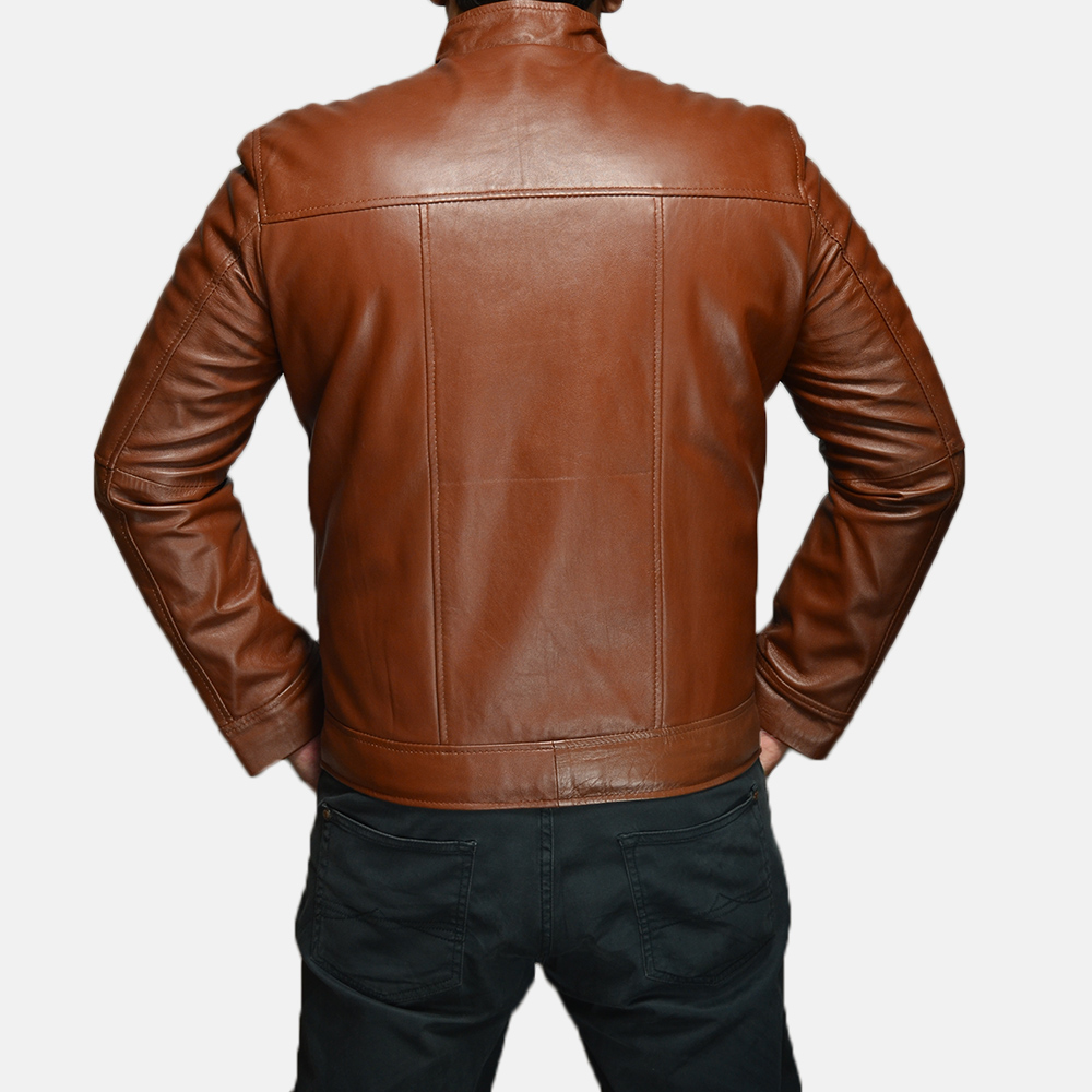Mens Chang Tan Leather Biker Jacket 4