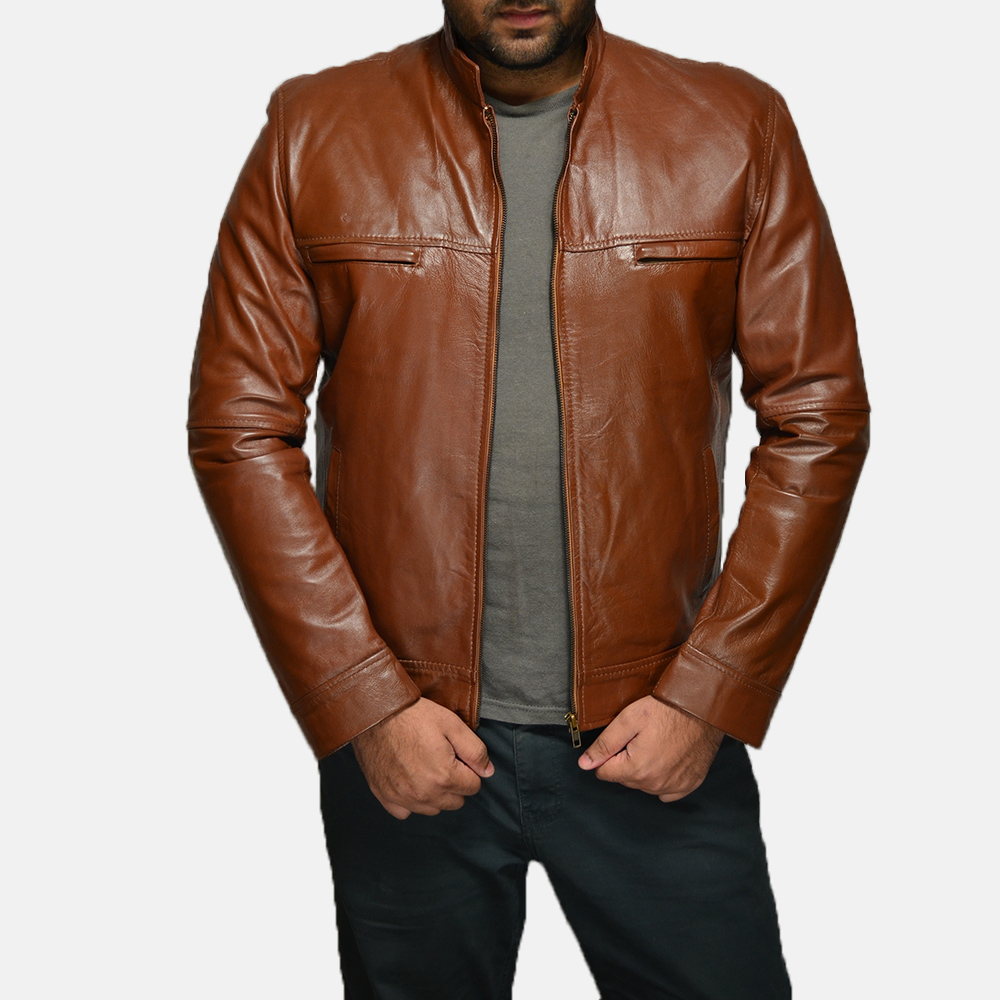 Mens Chang Tan Leather Biker Jacket 1
