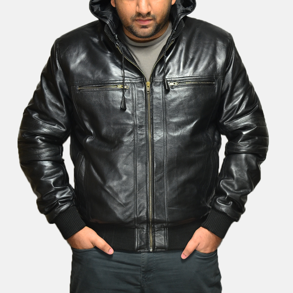 Mens Bouncer Biz Black Leather Bomber Jacket 1