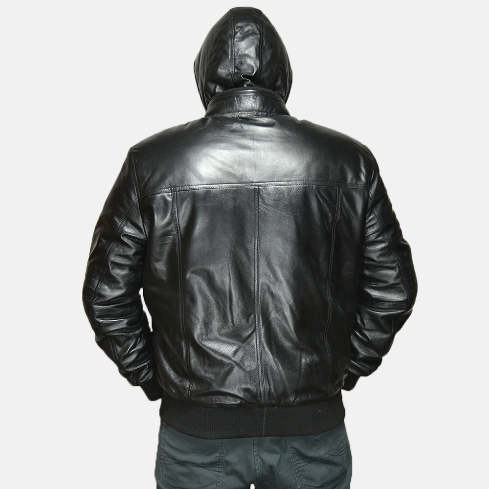Mens Bouncer Biz Black Leather Bomber Jacket 4