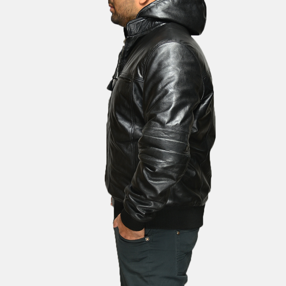 Mens Bouncer Biz Black Leather Bomber Jacket 3