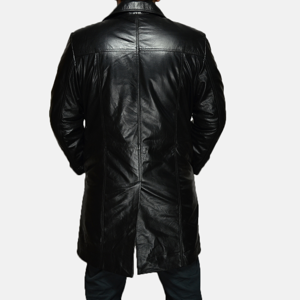 Mens Don Long Black Leather Coat 4