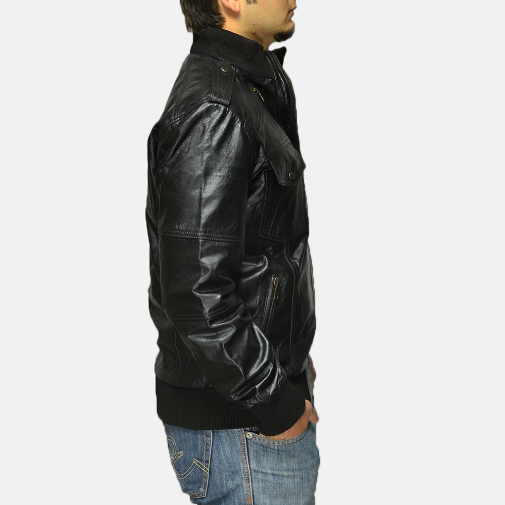 Mens Agent Shadow Black Leather Bomber Jacket 3
