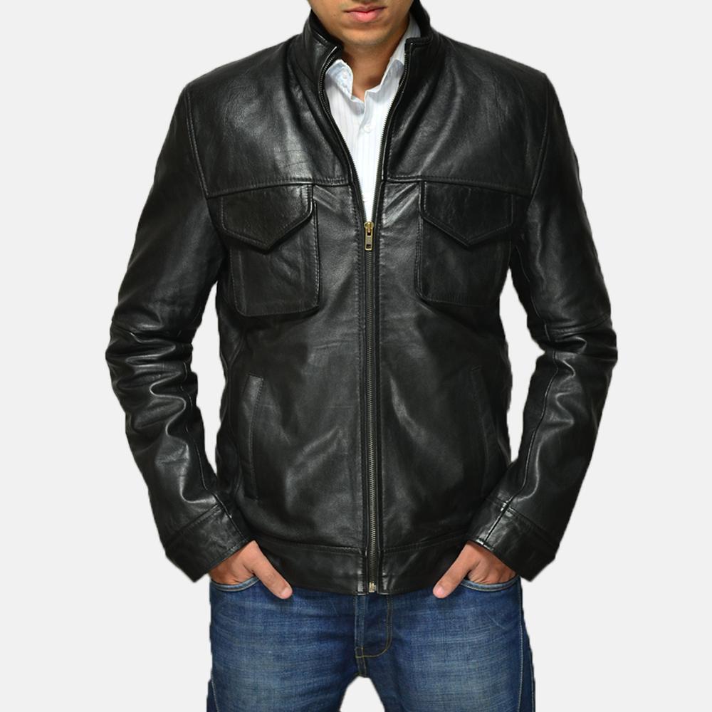 Mens Maurice Black Leather Jacket 1
