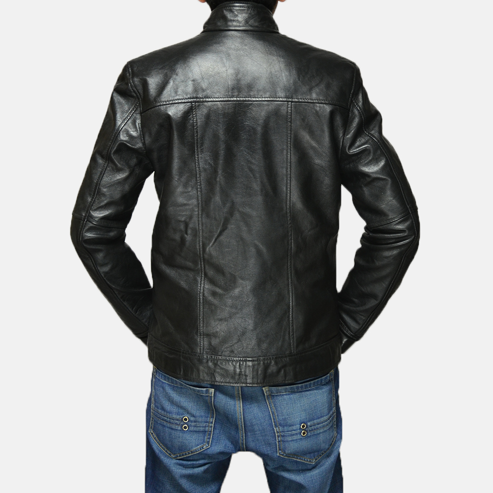 Mens Maurice Black Leather Jacket 4