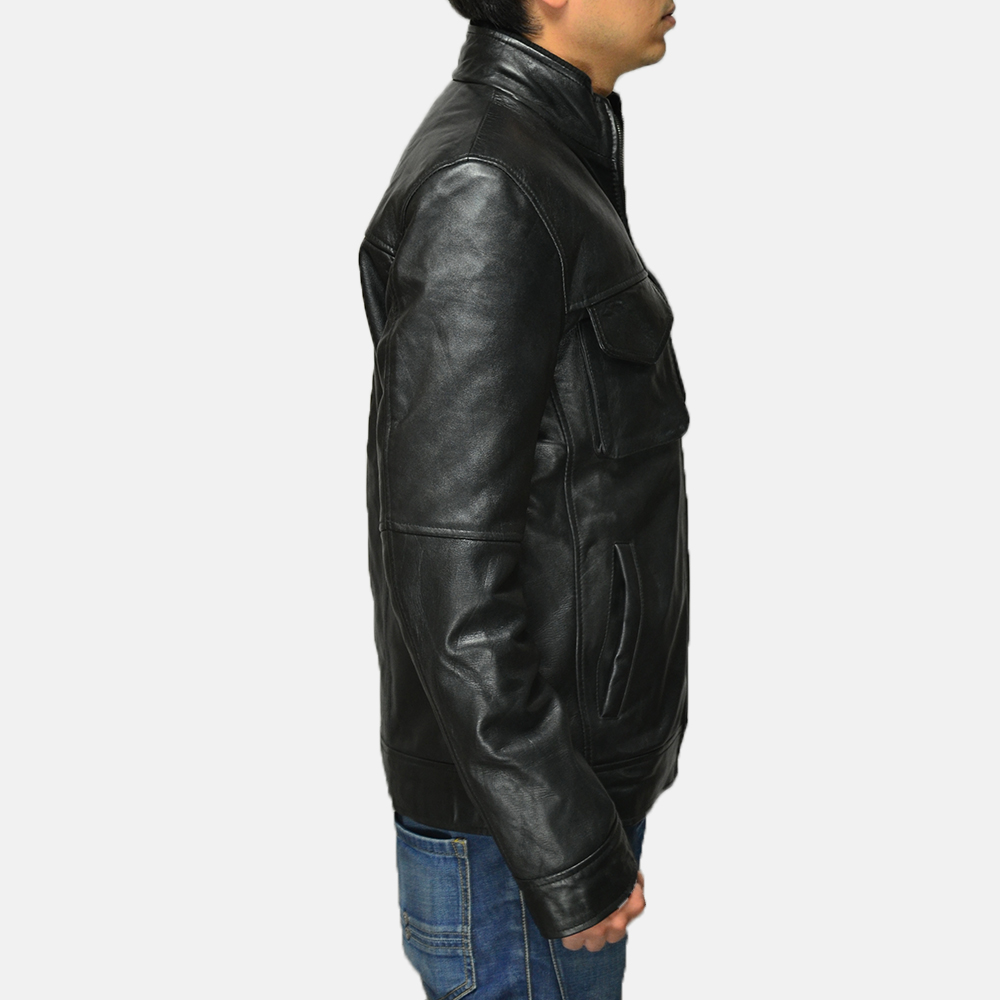 Mens Maurice Black Leather Jacket 3