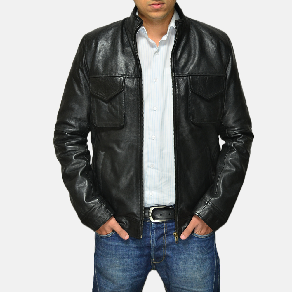 Mens Maurice Black Leather Jacket 2