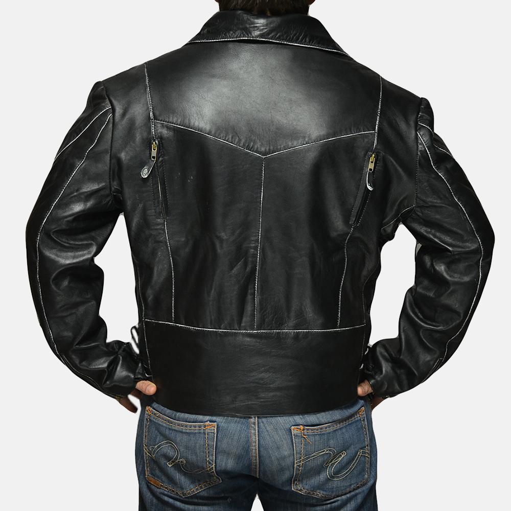 Mens Vincent Black Leather Biker Jacket 3