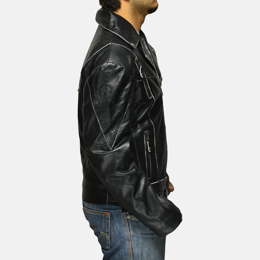 Mens Vincent Black Leather Biker Jacket 2