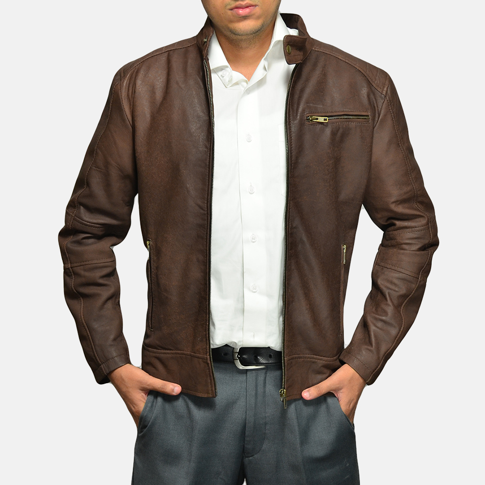 Mens Dean Brown Suede Biker Jacket 2