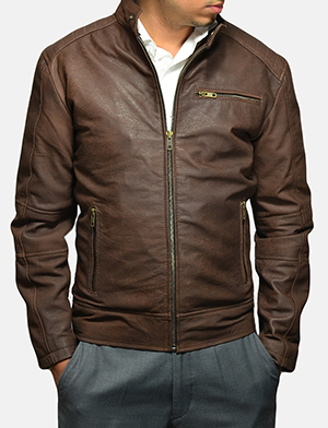 Mens Dean Brown Suede Biker Jacket