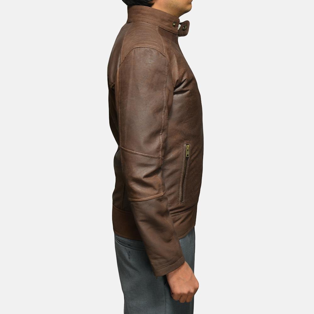 Mens Dean Brown Leather Biker Jacket 4
