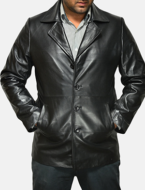 Mens Classmith Black Leather Coat
