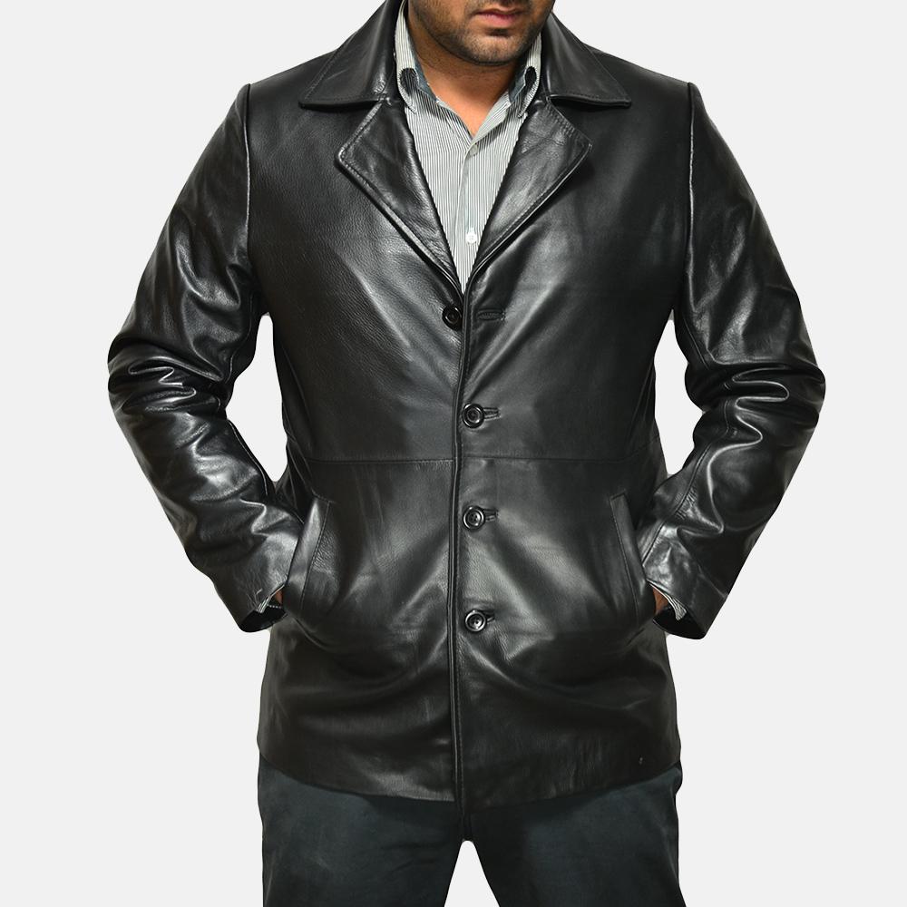 Mens Classmith Black Leather Coat 1