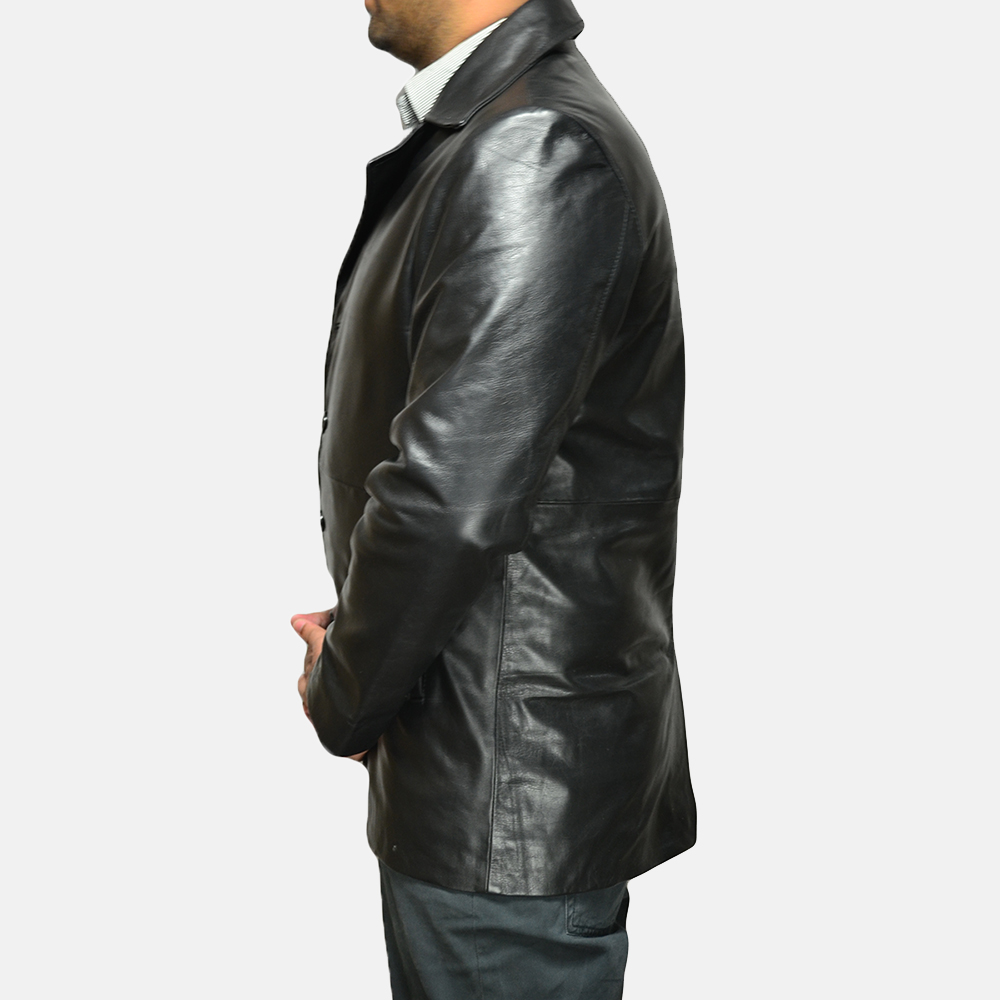 Mens Classmith Black Leather Coat 3