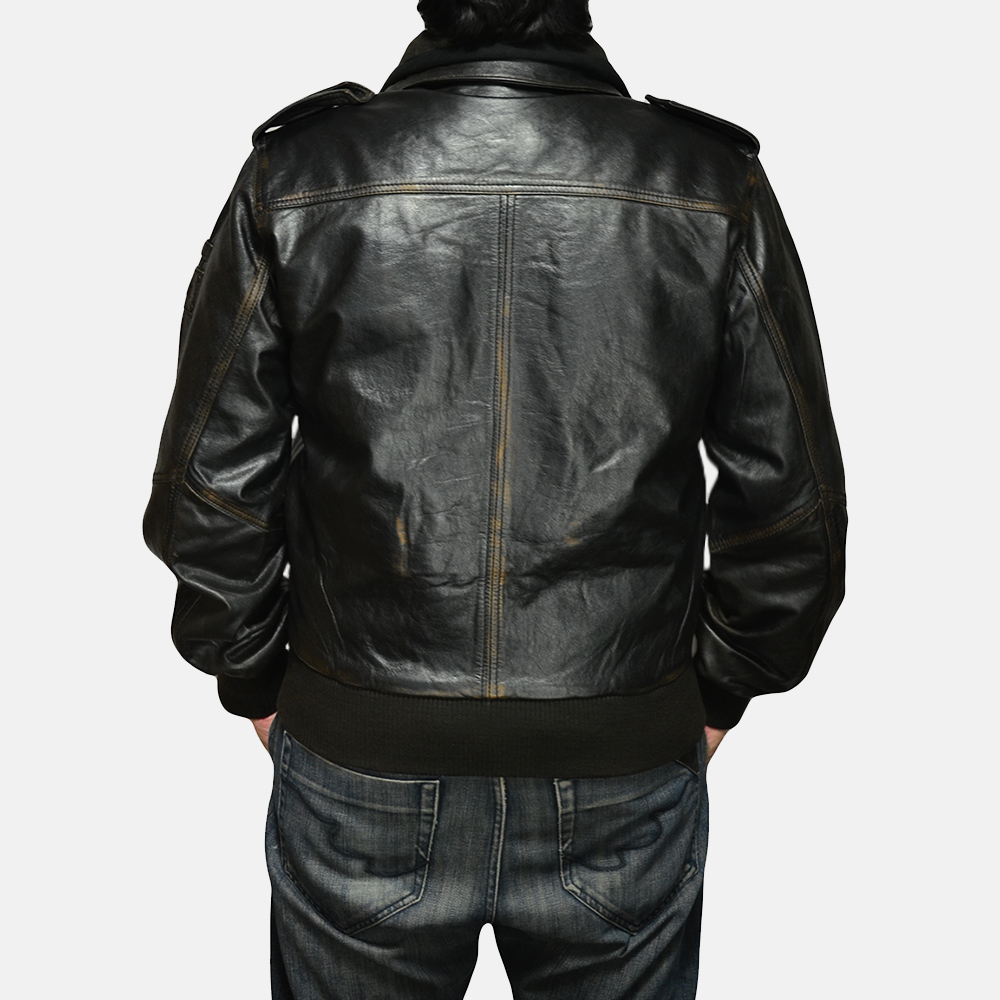 Mens Glen Street Black Leather Bomber Jacket 5
