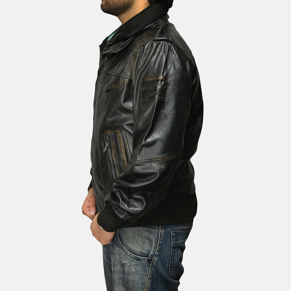 Mens Glen Street Black Leather Bomber Jacket 4