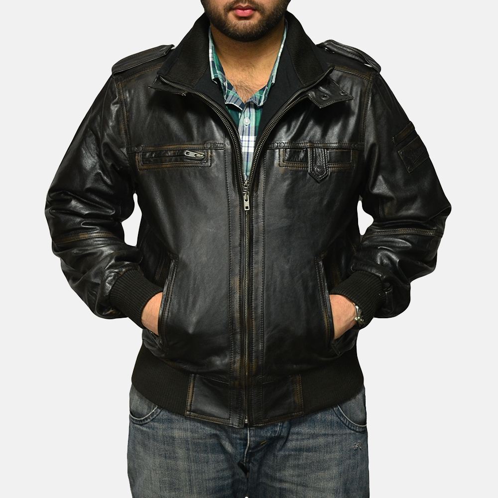 Mens Glen Street Black Leather Bomber Jacket 2