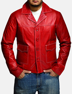 Mens Jarama Red Leather Coat