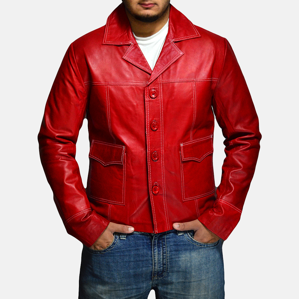 Mens Jarama Red Leather Coat 1