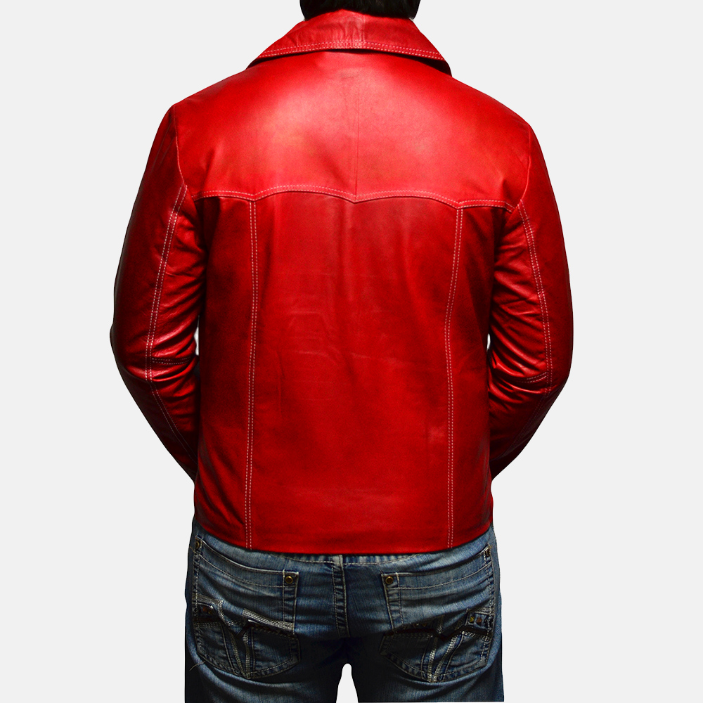 Mens Jarama Red Leather Coat 4