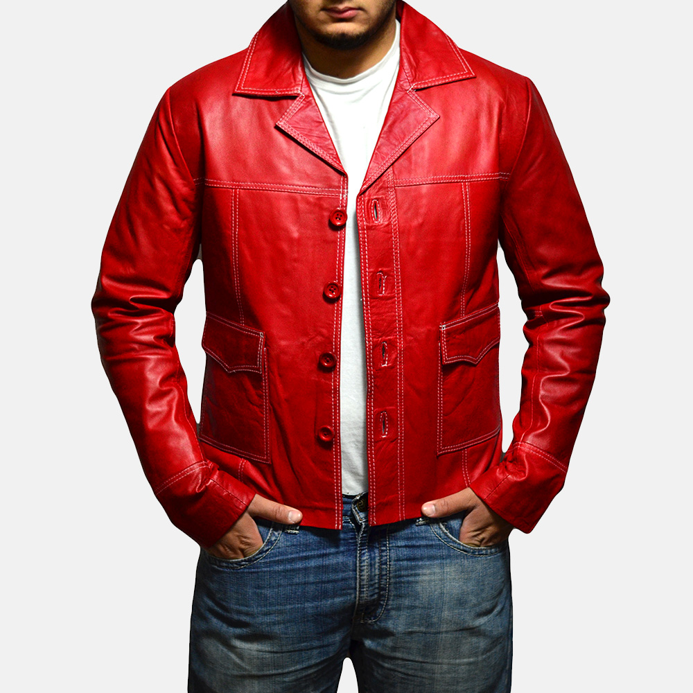 Mens Jarama Red Leather Coat 2