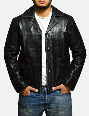 Mens Jarama Black Leather Coat