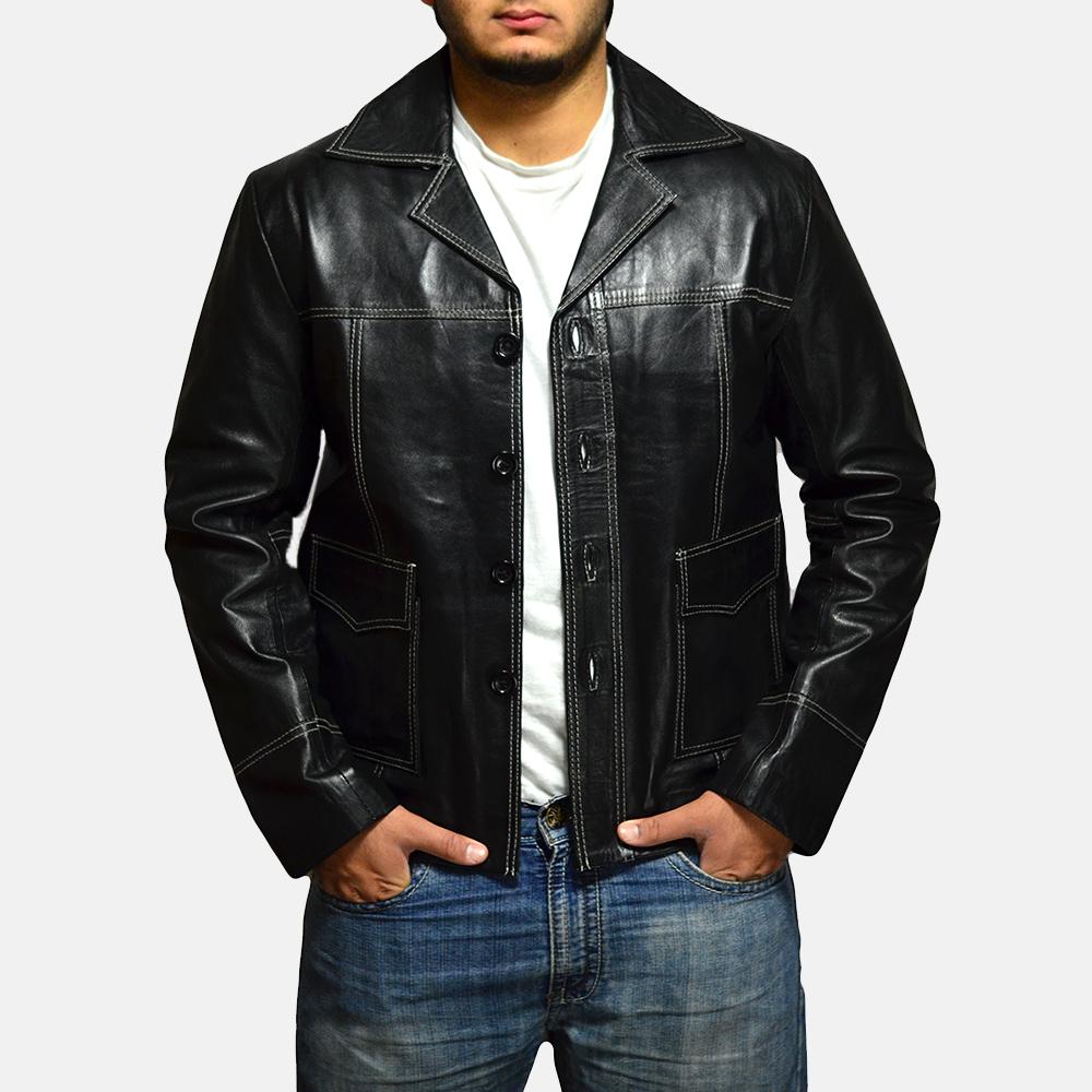Mens Jarama Black Leather Coat 2