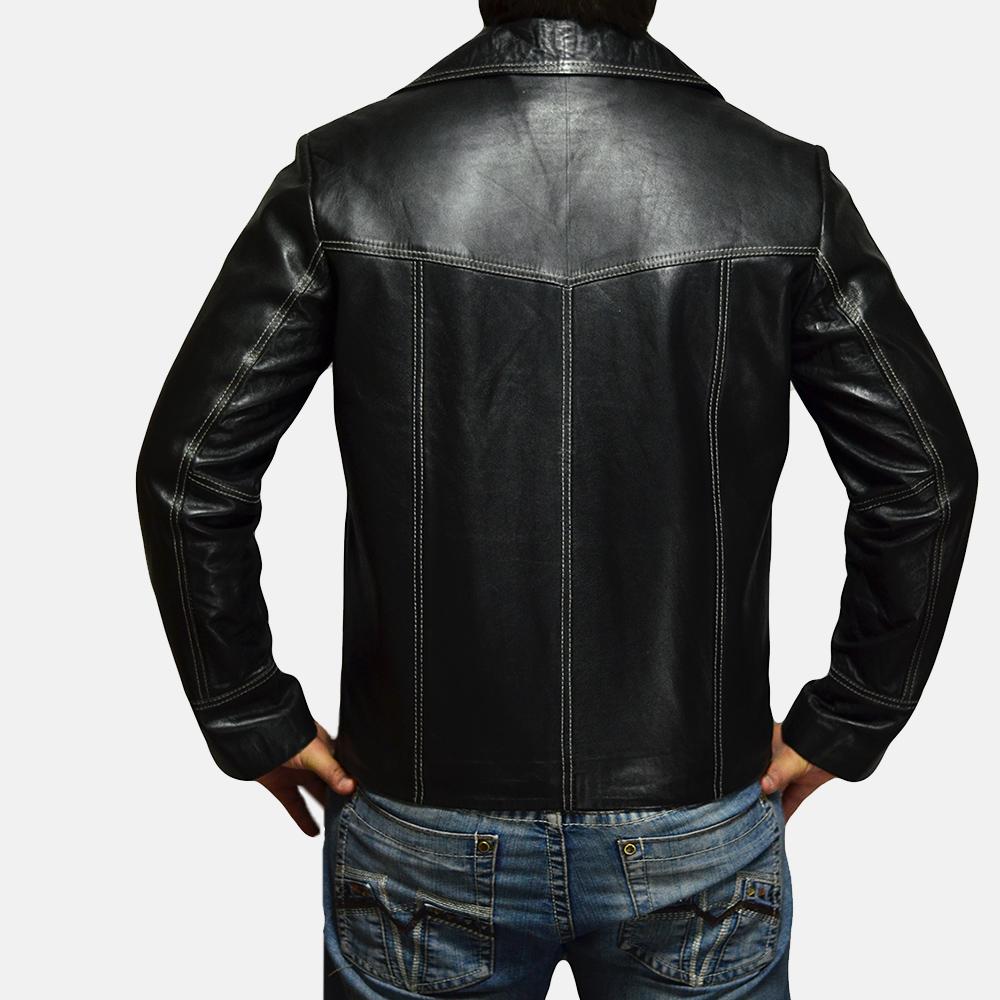 Mens Jarama Black Leather Coat 4