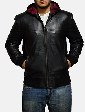 Mens Nintenzo Black Hooded Leather Jacket