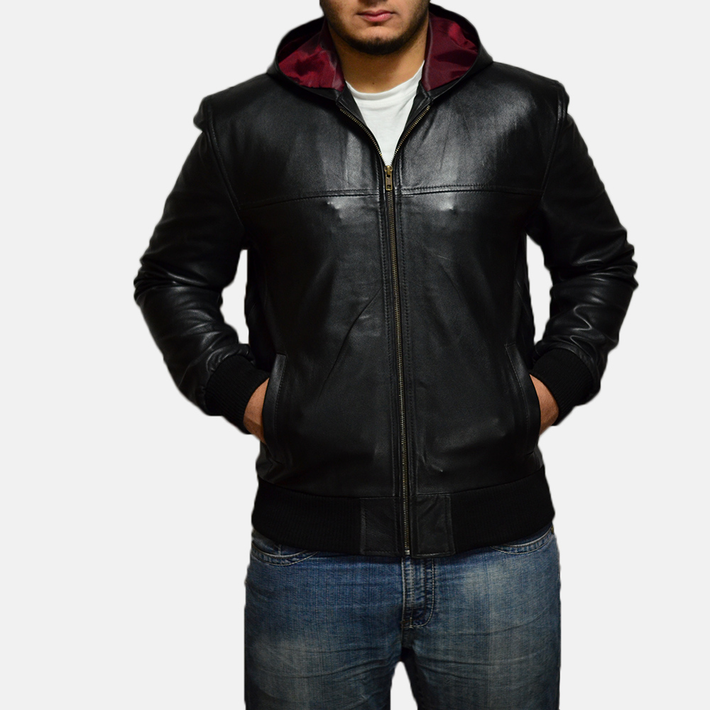 Leather jackets for men with hood