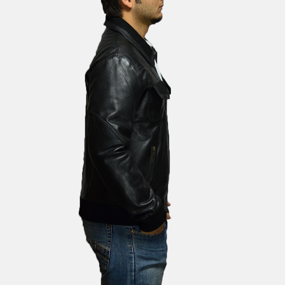 Mens Jake Hall Black Leather Jacket 3