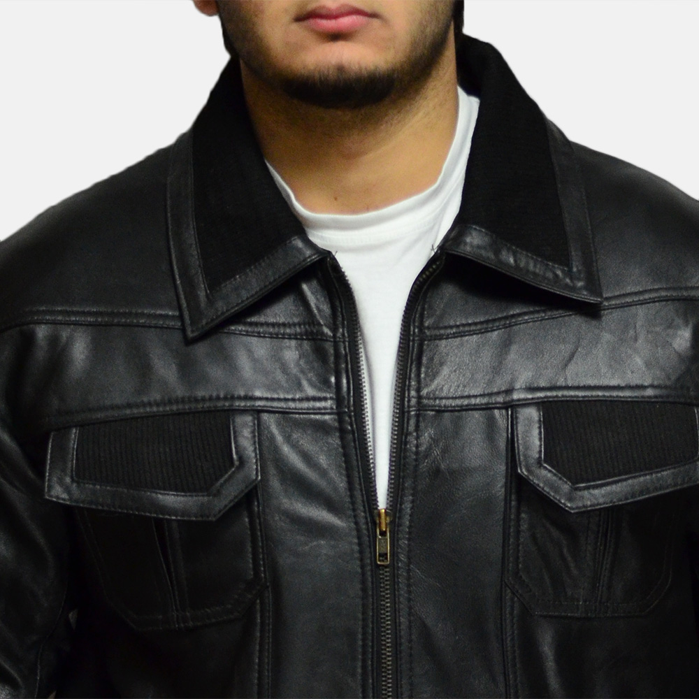 Mens Jake Hall Black Leather Jacket 2