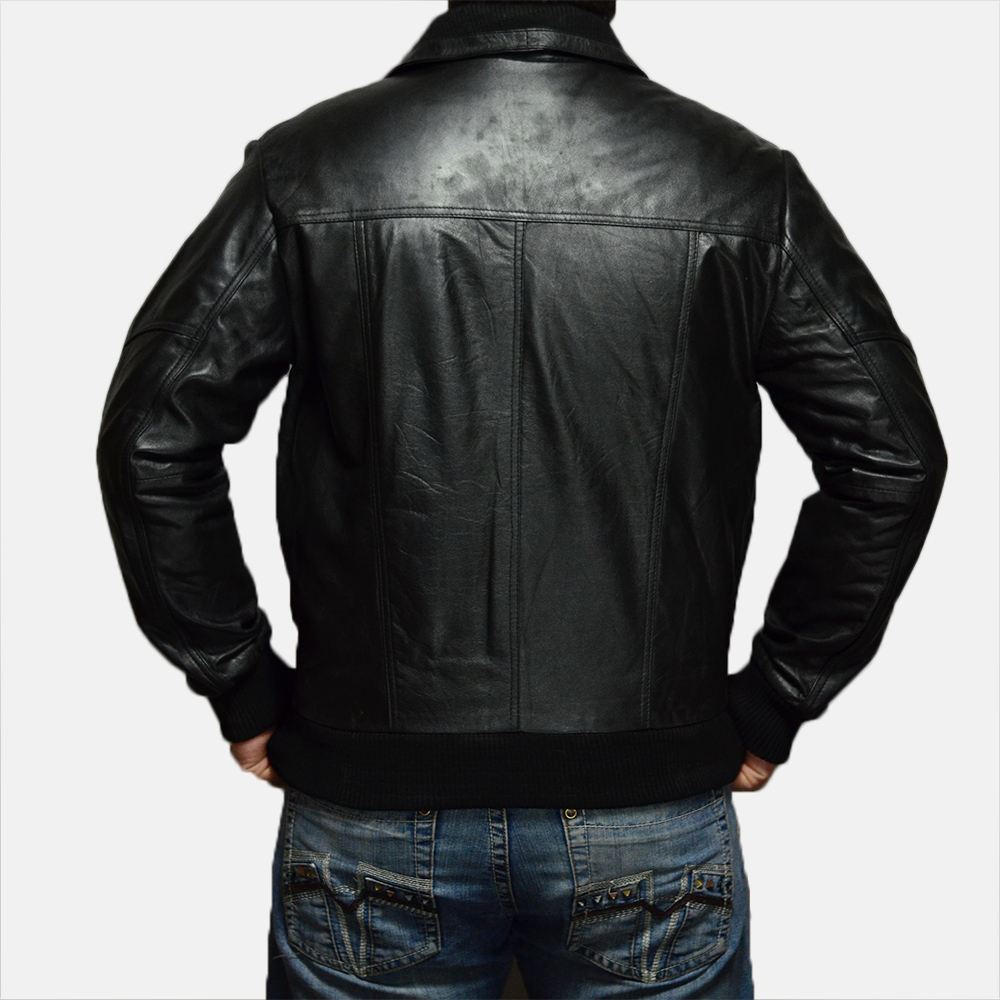 Mens Jake Hall Black Leather Jacket 4