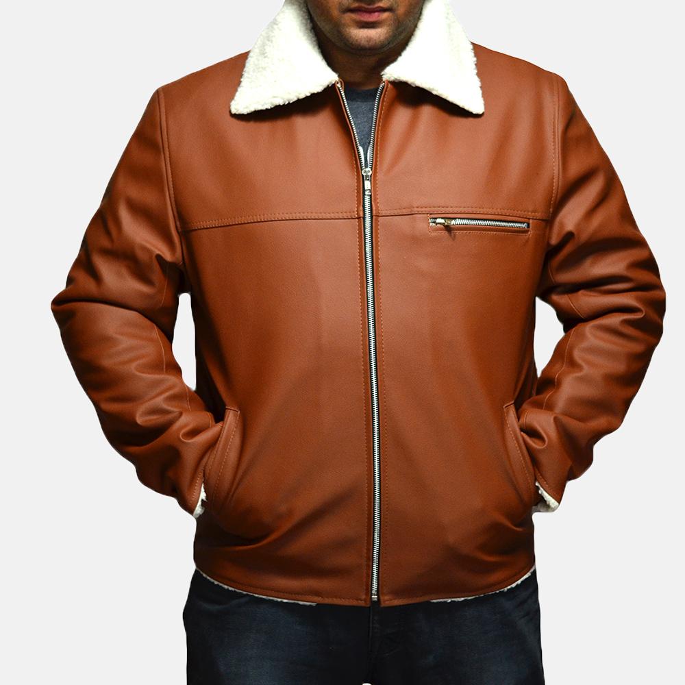 Mens Dan Frost Tan Shearling Jacket 1
