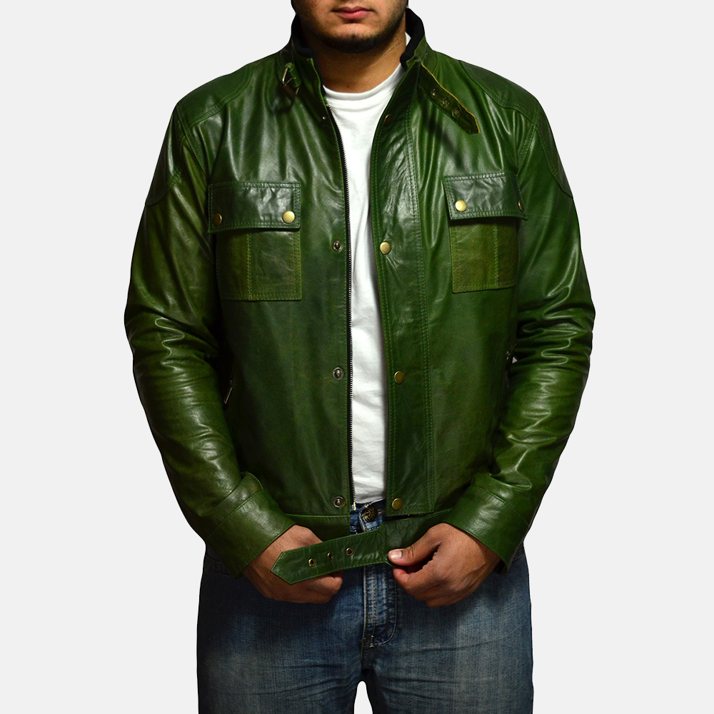 Mens Krypton Green Leather Jacket 2