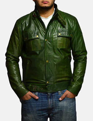 Mens Krypton Green Leather Jacket