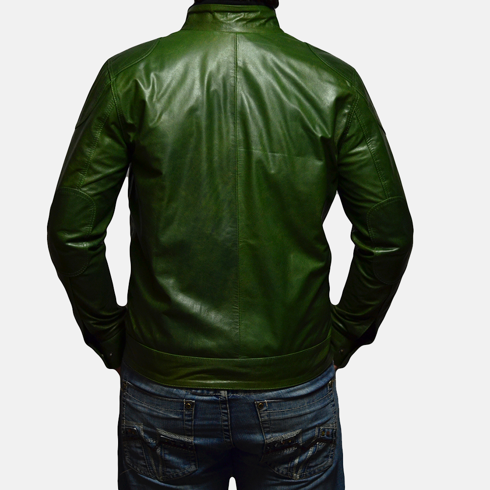 Mens Krypton Green Leather Jacket 4