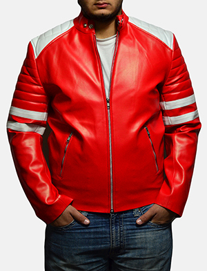 Mens Monza Red Leather Biker Jacket