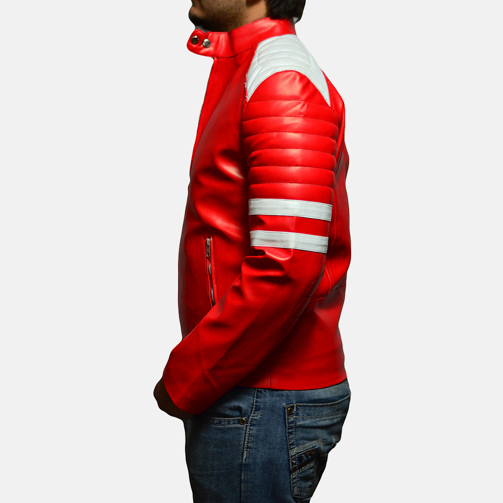 Mens Monza Red Leather Biker Jacket 3