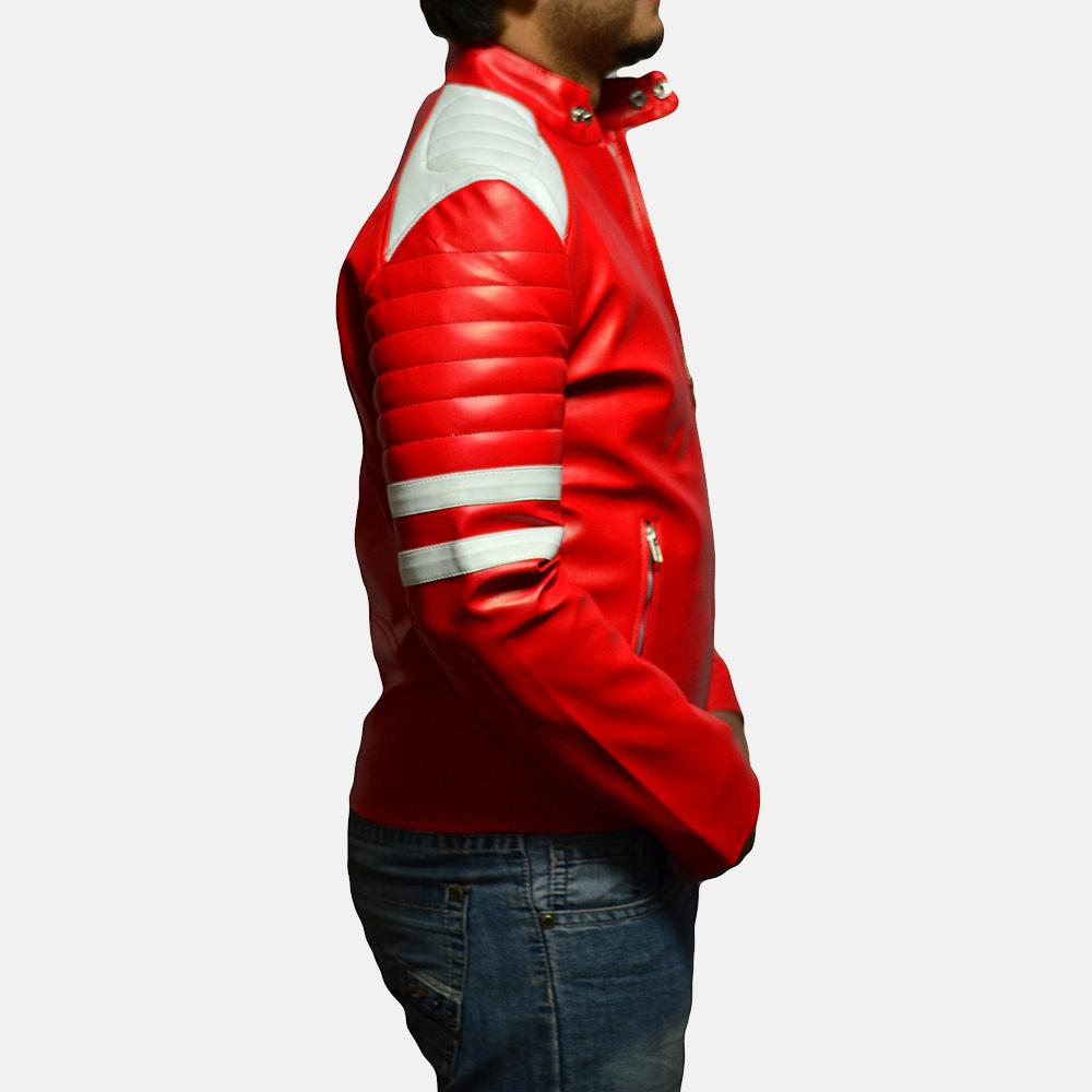Mens Monza Red Leather Biker Jacket 4
